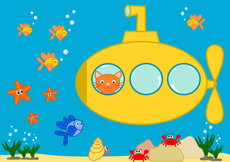 Orange cat in a yellow submarine funny cartoon illustration illustration