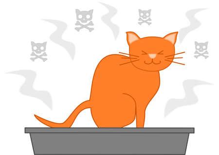 cat s: cat poop in the litterbox funny cartoon illustration