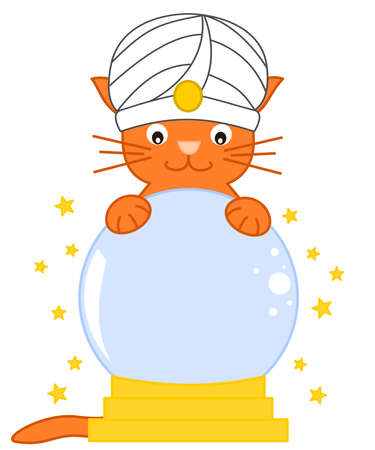 tell fortunes: Cat predict future magic crystal ball with cartoon illustration Stock Photo