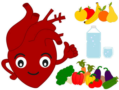 l plate: human heart and healthy food funny cartoon illustration