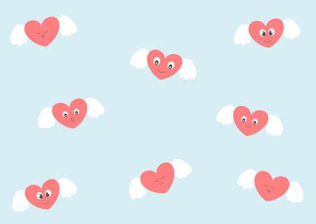 alas de angel: corazones lindos con �ngel Foto de archivo