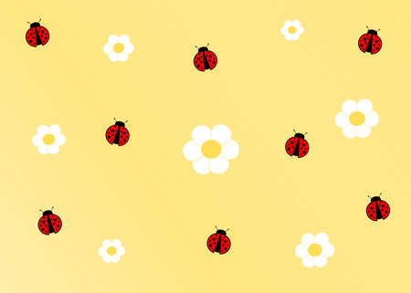 designates: cute ladybug cartoon yellow background Stock Photo