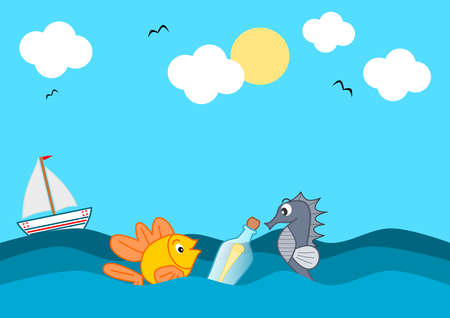 seaa: message in a bottle in the middle of the ocean funny cartoon illustration Stock Photo