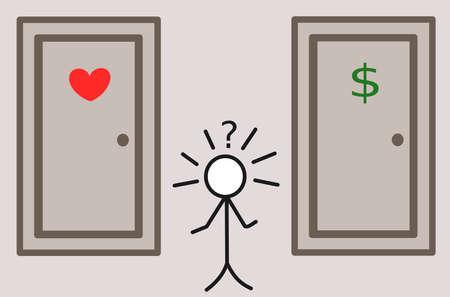 hard love: stickman and the hard choice love or money illustration