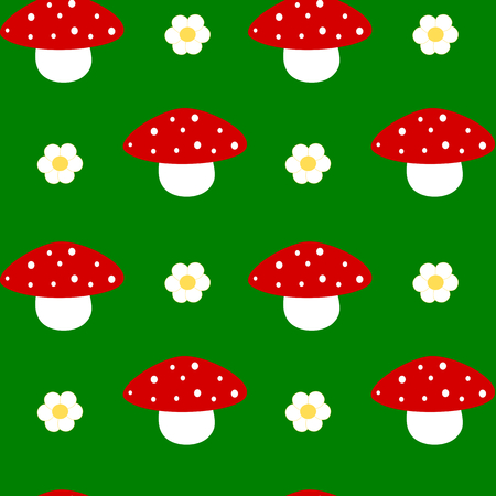 red mushroom in the meadow cute vector seamless pattern