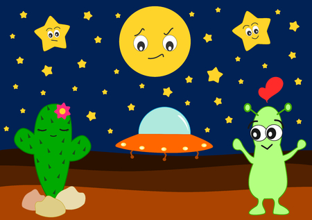 designates: funny cartoon alien in love with cute cactus humor vector illustration
