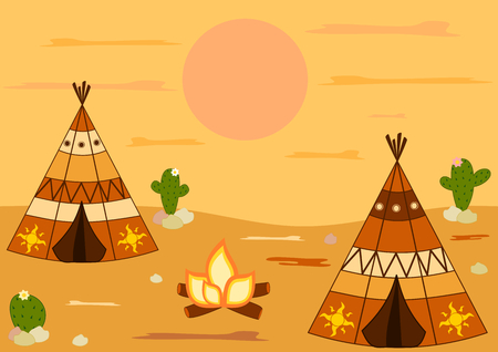 teepee: native american indian teepee tent cartoon vector background illustration Illustration