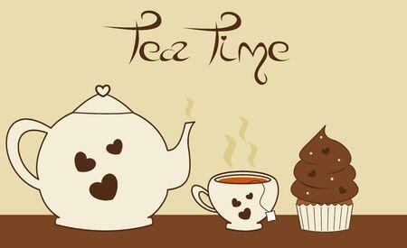 cupcake illustration: vintage retro tea set scenes with chocolate cupcake vector illustration