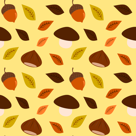 acorn: season autumn fall background with acorn and chestnut mushroom seamless vector pattern Illustration
