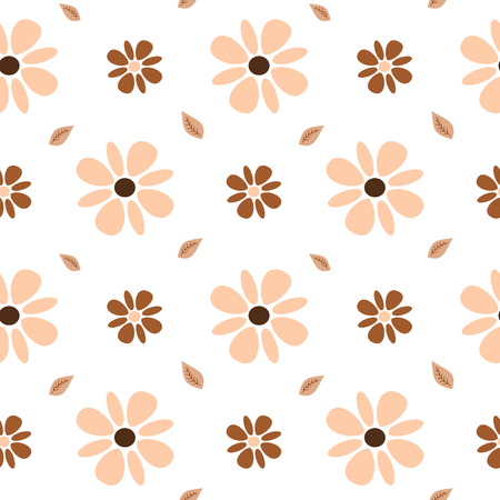 Pastel brown and pink flowers seamless pattern background illustration 矢量图像