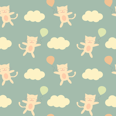 wrap vector: cute cartoon cat flying in the sky with balloon seamless pattern vector background illustration