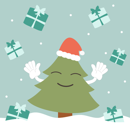 raining: happy christmas tree and the presents raining funny holidays vector illustration