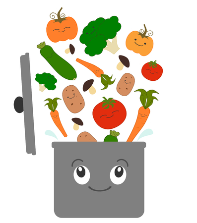 cartoon vegetables for soup and pot vector funny illustration