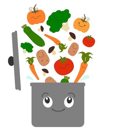 aliments droles: légumes de dessins animés pour la soupe et pot illustration drôle