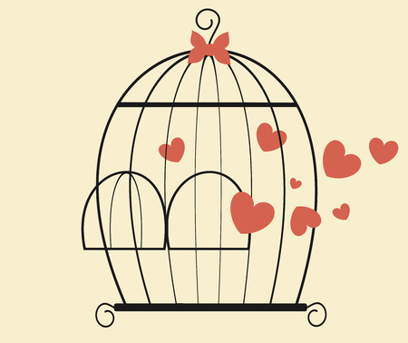 captivity: bird cage with hearts valentines day romantic vector illustration