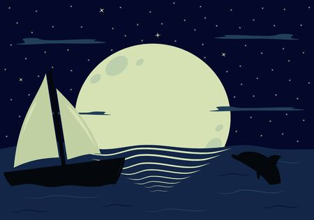 moons: moons reflection on the sea in the beautiful starry night vector illustration background