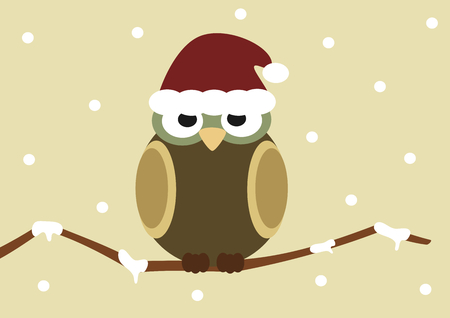 article of clothing: christmas holidays cartoon owl on branch vector illustration