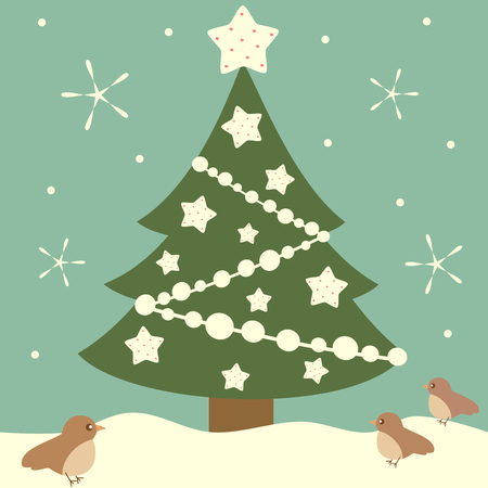 holiday background: cartoon vector christmas tree with white stars holiday background illustration