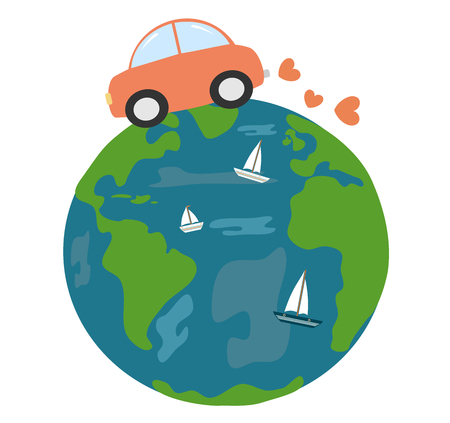 car driving around earth with love cute funny cartoon vector illustration Illustration
