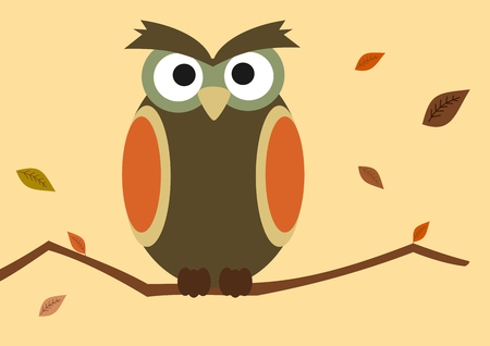 beautiful thanksgiving: cartoon owl on branch with autumn leaf vector background illustration