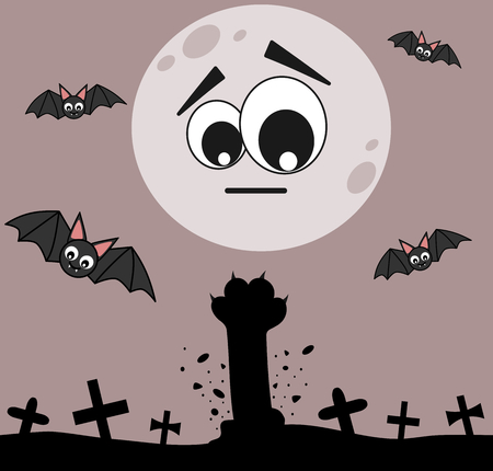 cat paw: cartoon zombie cat paw in the cemetery halloween night funny