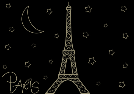 Eiffel tower in the starry night cute romantic background illustration