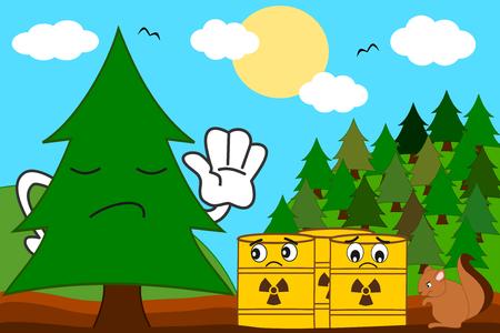 toxic waste: cartoon tree versus toxic waste concept vector illustration Illustration