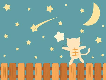 falling star: cartoon cat watching falling star funny vector illustration