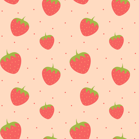cute lovely strawberry seamless pattern background illustration
