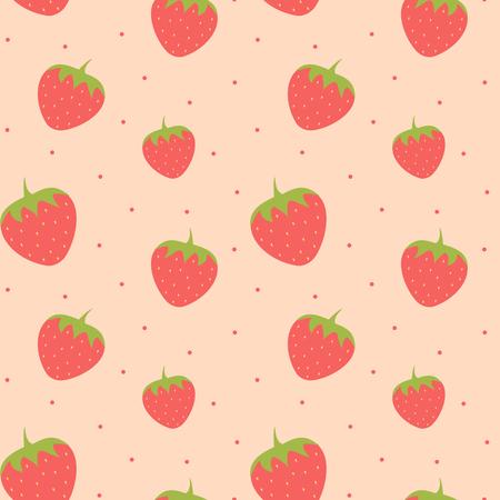 cute lovely strawberry seamless pattern background illustration