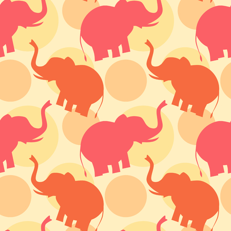 cute animals: pink orange elephant silhouette seamless pattern background illustration Illustration