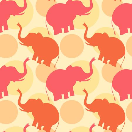 siluetas de animales: rosa naranja silueta de elefante patr�n de fondo sin fisuras ilustraci�n Vectores