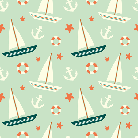 cute colorful sailboat seamless pattern with anchor and lifebuoy background illustration