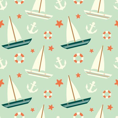 leuke kleurrijke zeilboot naadloze patroon met anker en reddingsboei achtergrond illustratie Stock Illustratie