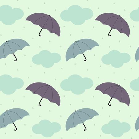 kropla deszczu: deszczowe niebo z kolorowych sezonowych parasolowego szwu tle ilustracji