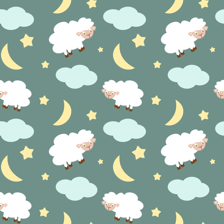 lamb cartoon: cute sheep in the night sky with stars moon and clouds seamless pattern background illustration