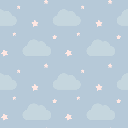 pink sky: lovely cute little pink sky with clouds and stars seamless pattern vector background illustration
