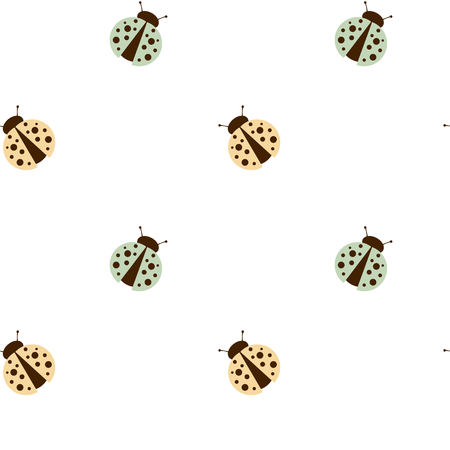 small articles: cute ladybug on white background seamless pattern vector background illustration