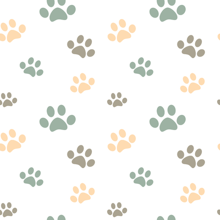 pastel colored: cute pastel colored paw seamless pattern vector background illustration