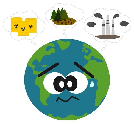 mundo contaminado: tierra preocupado por la contaminaci�n y la deforestaci�n concepto de ilustraci�n vectorial