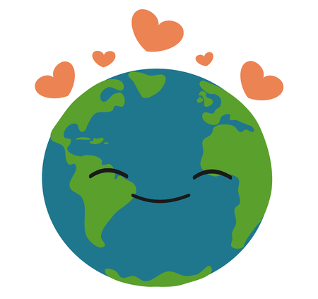 cartoon earth: happy earth in love vector illustration