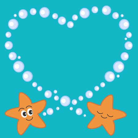 white frame love heart: cute cartoon starfish in love romantic vector illustration