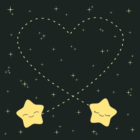 cute cartoon stars in love in the night sky vector illustration lovely romantic Vektoros illusztráció