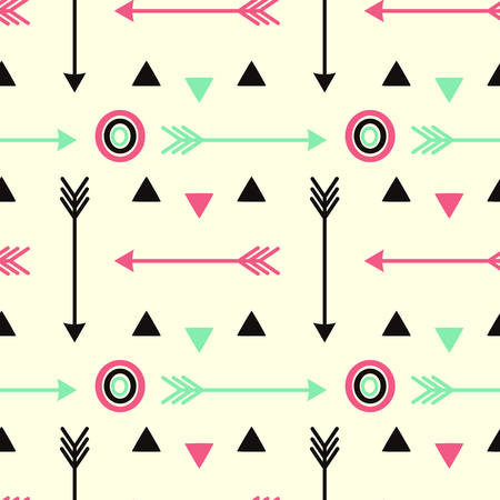 pink and black: hipster pink arrows black and fluorescent green with circles seamless pattern vector background illustration Illustration