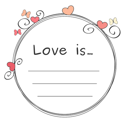wedding heart: cute lovely valentine vector circle frame card for valentines day