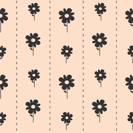 seamless tile: cute lovely black daisy flowers on pink background seamless pattern vector illustration