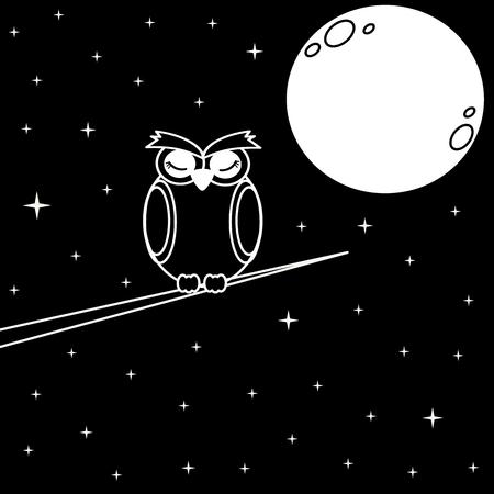 hibou sur la branche dans la nuit étoilée noir et blanc illustration vectorielle
