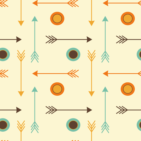 cute hipster arrows with circles seamless pattern vector background illustration