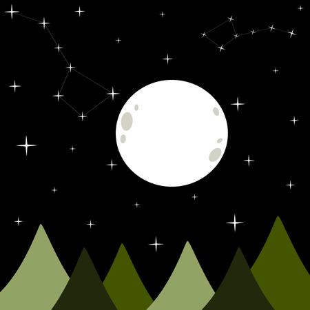 estrella caricatura: big white full moon in a black dark starry night vector background illustration with bear constellation Ursa Vectores