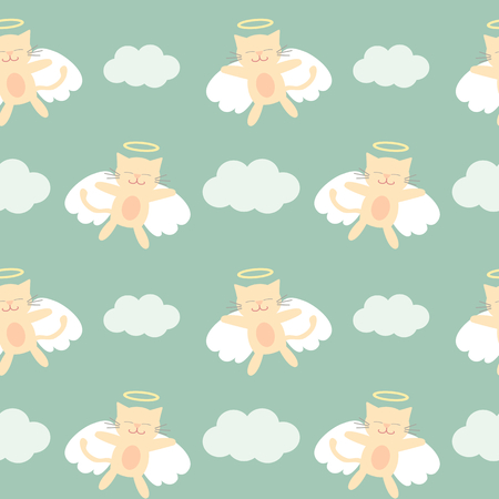 angel cat: cute lovely cartoon angel cat flying in the sky seamless pattern vector background illustration